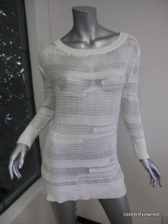 Agence White Long Sleeve Sheer Crochet Sweater 1