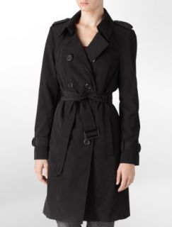 Calvin Klein Coat Double Breasted Trench Coat Black Beige Brown $200