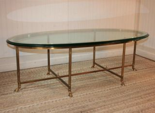 Hollywood Regency Brass Hoof Foot Coffee Cocktail Table Maitland Smith