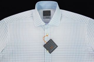 Mens THOMAS DEAN White Blue Modern Plaid Shirt Medium M NEW NWT Nice