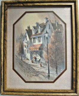 VINTAGE ART VILLAGE INN CAFE LA ROSE PRINT MATTED FRAMED BY IIC 11X8 7