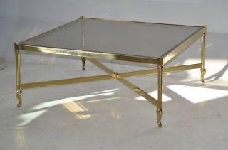 LaBARGE square brass coffee cocktail table glass top Hollywood Regency