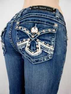 Women La Idol Blue Jeans White Leather Rhinestone Tribal Bootcut