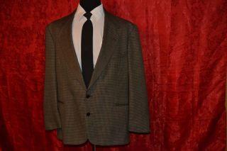 Classic Mens wool Brown Black Tweed L Homme Sport Coat Jacket Blazer