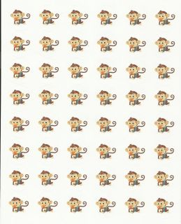 48 Baby Monkey Envelope Seals Labels Stickers 1 2 Round Baby Shower