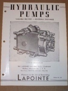 Vtg Lapointe Machine Tool Co Catalog Hydraulic Pumps
