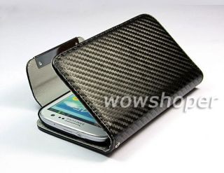 Wallet Carbon Fiber Leather Case Cover for Samsung Galaxy s 3 III S3