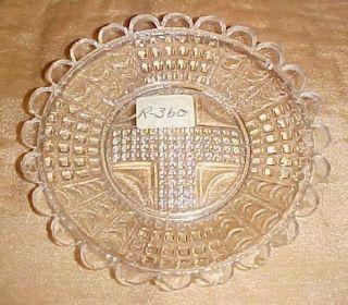 Antique Lacy Flint Glass Cup Plate Lee Rose 360