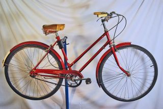 1970 Robin Hood 3 Speed Ladies Tourist Bicycle Bike Ruby Red Sturmey