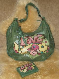 Isabella Fiore Summer Love Angelina Green Leather Hobo Bag Wallet Set