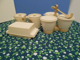Tupperware Cream and Sugar Butter Dish & Condiment Caddy with Ladles