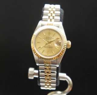 Ladies Rolex Oyster Perpetual Datejust Two Tone Yellow Gold and
