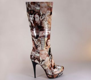 Lady Couture High Heels Ladies Boots Brown Multi All Sizes