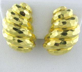 Estate Henry Dunay 18K Hammered Gold Earrings