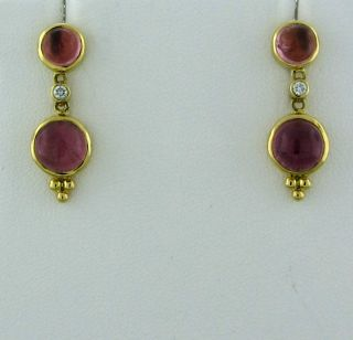 New Temple St Clair 18K Gold Pink Tourmaline Cabochon Diamond Earrings