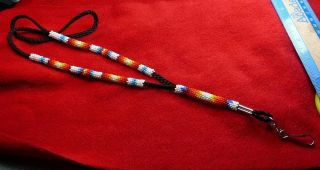 Awesome Beaded and Braided Lanyard Necklace Native American Indian