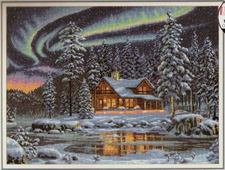 New Dimensions Gold Collection Aurora Cabin Counted Cross Stitch Kit