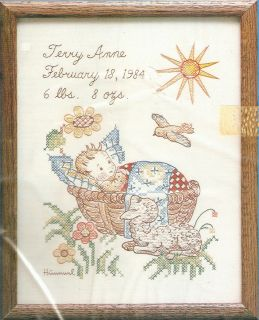 Vintage Paragon Baby Birth Record Hummel Stamped Cross Stitch Sampler