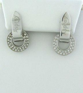 New Asprey 18K White Gold Diamond Earrings $4500