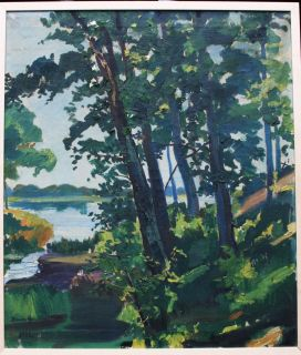 Hamilton 1932 Listed American Artist B 1880 Landscape with Lake