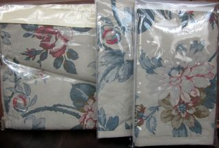 Ralph Lauren Lake House Floral Blue Tan Full Queen Duvet Comforter