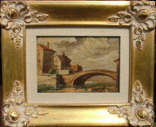 Painting Ancient Bridge Village Landscape No Reserve Auction