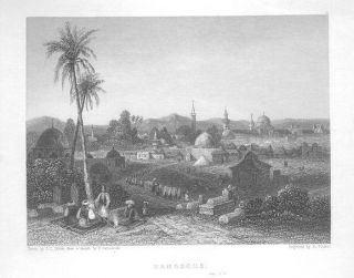 DAMASCUS LANDSCAPE ARABS TOBACCO PIPE OLD HOLY LAND ENGRAVING ANTIQUE