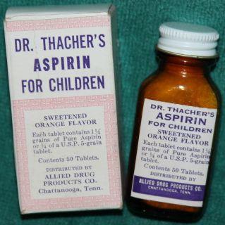 Antique Vintage Dr Thachers Aspirin Bottle Box