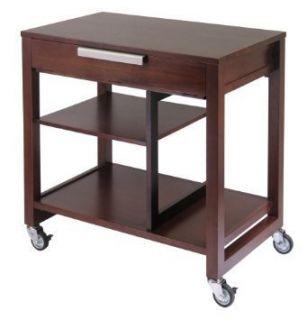 Rolling Computer Stand Laptop Desk PC Organizer Wood W/ Keyboard Tray