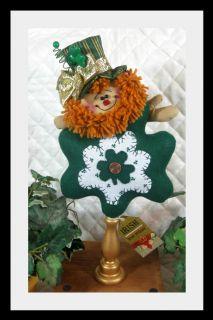 Primitive St. Patricks Leprechaun Shamrock on Golden Candlestick