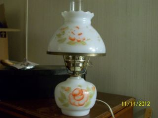 Vintage Hurricane Lamp Hand Painted Roses