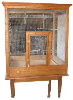 Handsome Tall Large Wood Furniture Parrot Bird Cage Pet Habitat