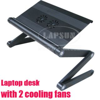 Folding Laptop Bed Table Desk Stand Cooling Fan Cooler