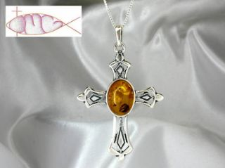 Large Sterling Silver Baltic Amber Cross Necklace New