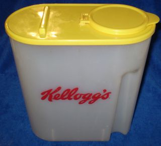 Kelloggs Plastic Cereal Container Large with Yellow Lid 1996