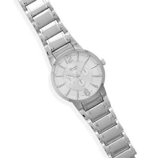 Mens Silver Tone Fashion Watch with Large Round Face