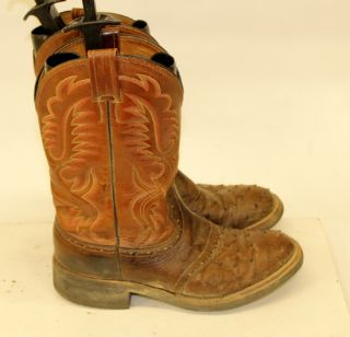 LARRY MAHAN TOW TONE BROWN LEATHER OSTRICH SKIN WESTERN COWBOY BOOTS