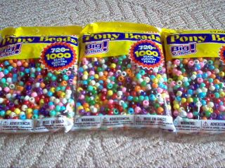 PONY BEADS   OPAQUE  PLASTIC   1,000 BEADS IN EACH LARGE BAG   9MM