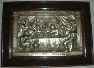 vintage THE LAST SUPPER wood framed METAL ART RELIEF PICTURE no