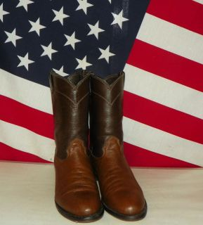 Mens Larry Mahan Two Tone Brown Leather Roper Cowboy Boots Size 9 D