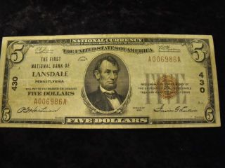 Dollar National Note Lansdale PA from 1929 Charter 430 Serial 6986