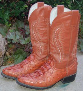 La Mexicana Mexican Alligator Ostrich Mens 9 Cowboy Western Boots