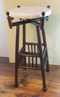 OAK WOOD PLANT STAND TABLE with MARBLE TOP Arts & Crafts Mission Style