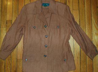 Lauren Ralph Lauren Brown Silk Linen Blazer Size 10