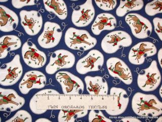 Vintage Cowboy Lasso Fabric Navy Blue Cotton Yards