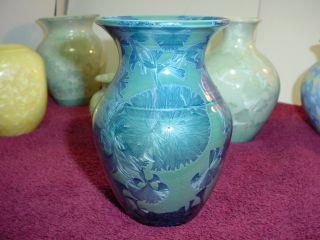 PHIL MORGAN POTTERY CRYSTALLINE GLAZE VASE 5 TALL BLUE & GREEN 1986