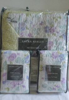 Laura Ashley 3 PC Queen Full Quilt Set Purple Blue Green Roses