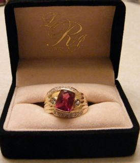 Laura Ramsey 18K YG Rubellite Diamond Aqua Womans Ring Size 10