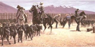 Larry Zabel Art EDT Signed s N Montana Black Gold Unframed Branding