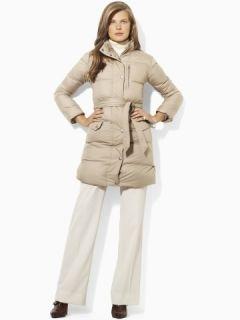 Ralph Lauren Women Belted Down Coat Long Jacket Taupe MSRP $249 Size L